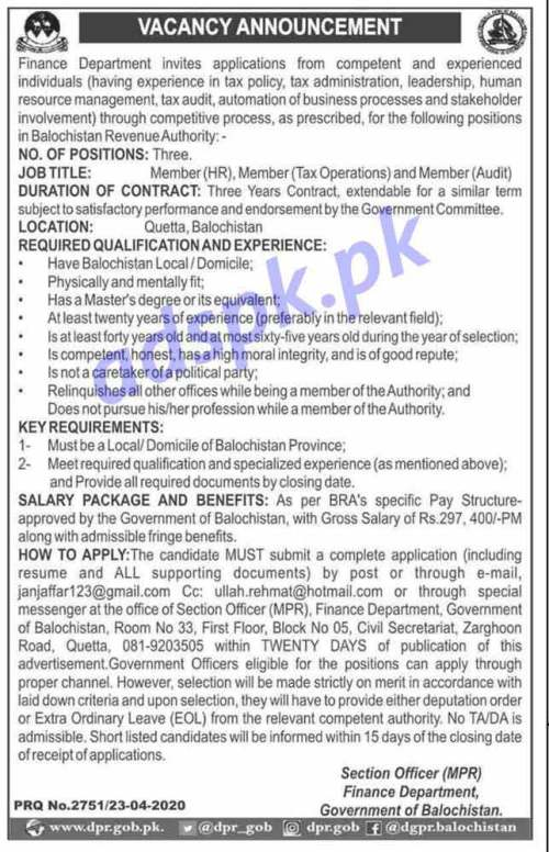 Balochistan Revenue Authority Finance Department Quetta Jobs 2020 for Members (HR Tax Operations Audit) Jobs Application Deadline 15-05-2020 Apply Now