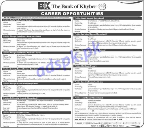 Bank of Khyber BOK Karachi Lahore Islamabad Peshawar Jobs 2020 for Manager Trade Finance Operations Manager Account Services Branch Managers Operations Manager GBO Jobs Application Deadline 03-05-2020 Apply Online Now