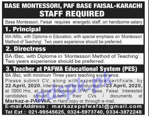 Base Montessori PAF Base Faisal Karachi Jobs 2020 for Principal Directress Teacher at PAFWA Education System (PES) Jobs Interview Dated 23-04-2020 Apply Now