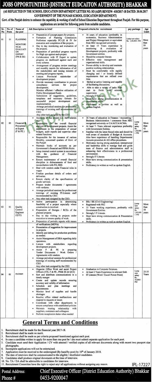 District Education Authority Bhakkar Jobs 2018 Planning Monitoring Evaluation Expert Financial Procurement Expert QCE Assistant Jobs Application Deadline 10-01-2018 Apply Now