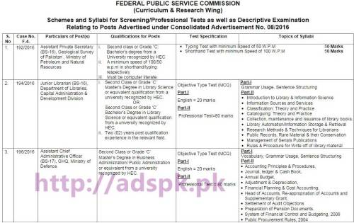 FPSC Latest Schemes and Syllabi for Screening Professional Tests as well as Descriptive Examination Relating to Posts Advertised under Consolidated Advertisement No. 08-2016 by FPSC