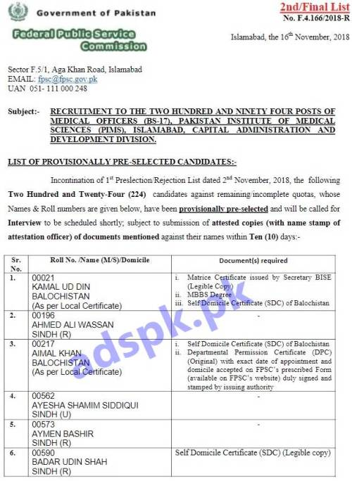 FPSC Provisionally Pre-selected 2nd Final List F.4-166/2018 Medical Officer in PIMS Islamabad Results Updated 16-11-2018 by FPSC