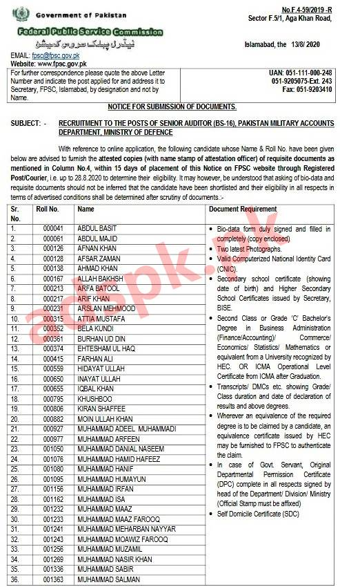 FPSC Results 6146 Passed Candidates List F.4-59/2019-R Senior Auditor in Pakistan Military Accounts Department Documents Required Submission of Documents Deadline 28-08-2020 by FPSC Islamabad