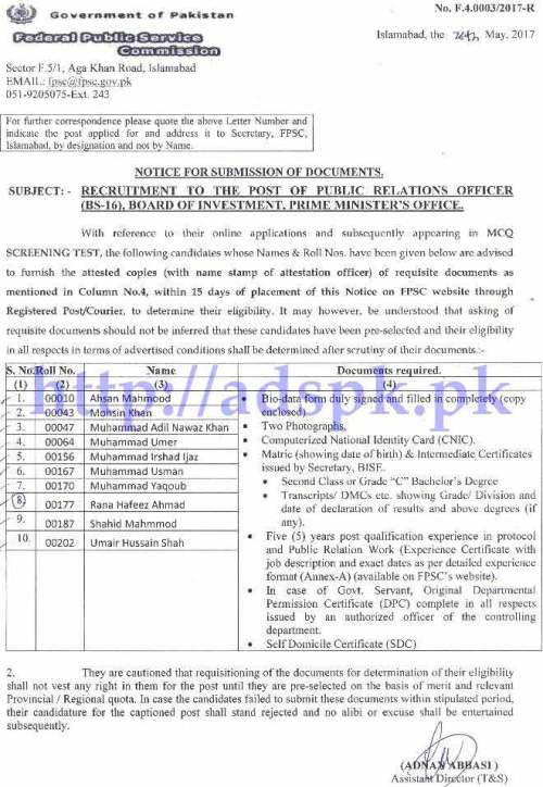FPSC Results Public Relations Officer F.4-03/2017 in Board of Investment Prime Minister's Officer for Submission of Documents within 15 Days FPSC Updated on 30-05-2017 by Federal Public Service Commission Islamabad