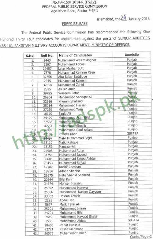 FPSC Senior Auditor F.4-150/2014 Final Results 2018 Pakistan Military Accounts Department MOD Recommended List 134 Candidates Appointment against the Posts of Senior Auditors Results Updated on 24-01-2018 by Federal Public Service Commission Islamabad