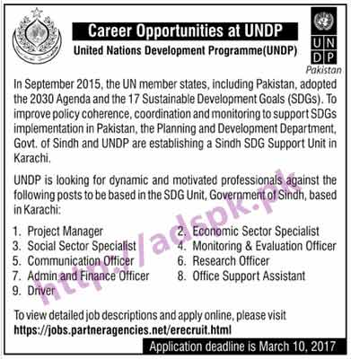 Free Career New Jobs United Nations Development Program UNDP Karachi Pakistan Jobs for Project Manager Economic & Social Sector Specialists M&E Officer Communication Officer Application Deadline 10-03-2017 Apply Online Now