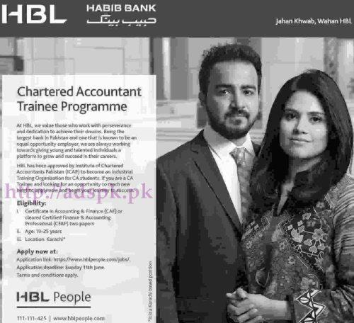 HBL Habib Bank Chartered Accountant Trainee Program (CATP) 2017 Jobs for CAF or CFAP Location Karachi Application Deadline 11-06-2017 Apply Online Now