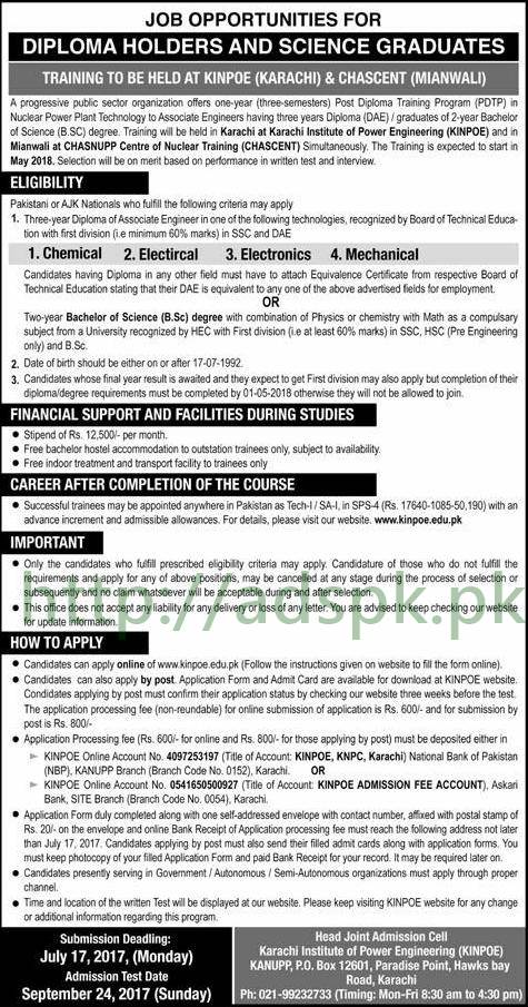 Jobs 2017 for Diploma Holders and Science Graduates Training to be held at KINPOE (KARACHI) & CHASCENT (MIANWALI) Jobs Application Deadline 17-07-2017 Apply Now