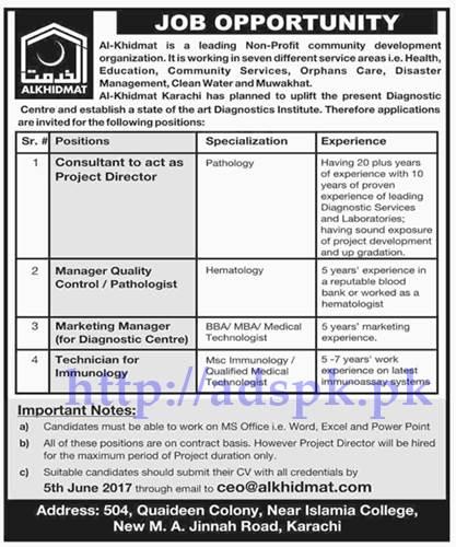 Jobs Al-Khidmat Organization Karachi Jobs 2017 for consultant Manager Quality Control Marketing Manager Technician Jobs Application Deadline 05-06-2017 Apply Online Now