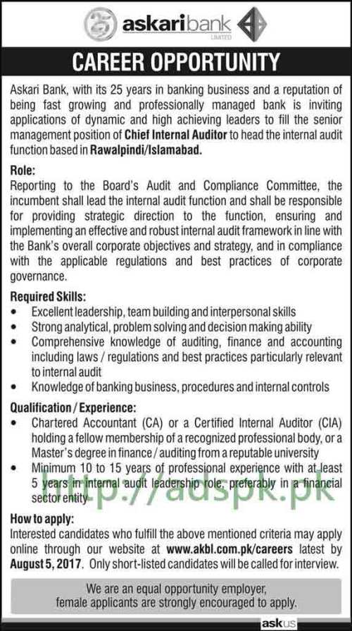 Jobs Askari Bank Limited Islamabad Rawalpindi Jobs 2017 Chief Internal Auditor Jobs Application Deadline 05-08-2017 Apply Online Now