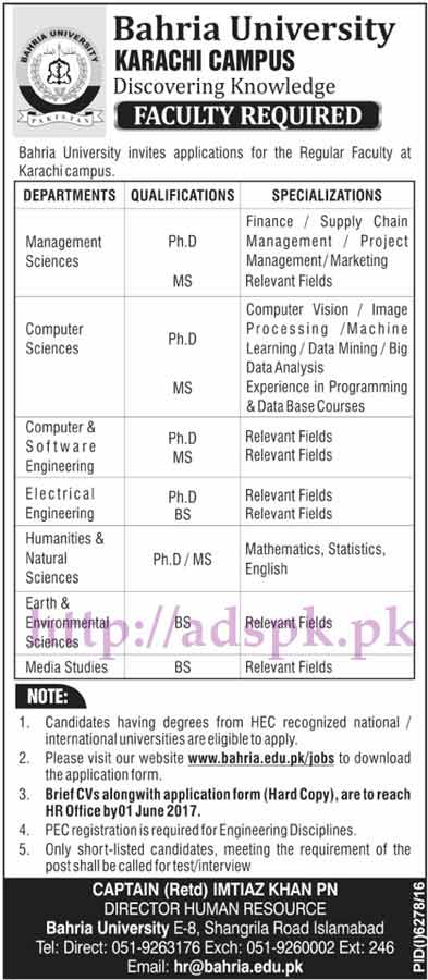 Jobs Bahria University Karachi Campus Jobs 2017 for BS MS PhD (Various Disciplines Faculty) Jobs Application Form Deadline 01-06-2017 Apply Now