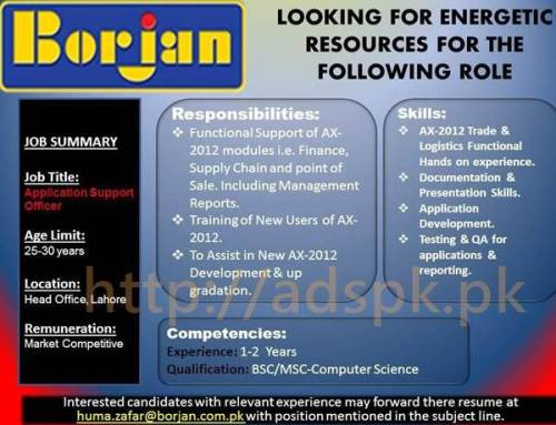 Jobs Borjan Head Office Lahore Pakistan Jobs 2017 Application Support Officer Eligibility B.Sc M.Sc Computer Science Apply Online Now