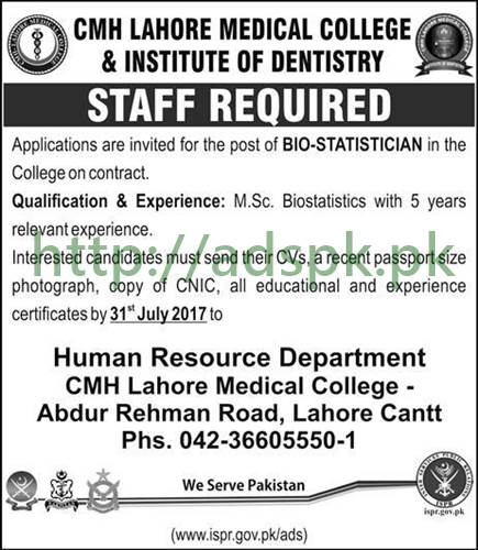 Jobs CMH Lahore Medical College and Institute of Dentistry Lahore Jobs 2017 Bio-Statistician Jobs Application Deadline 31-07-2017 Apply Now