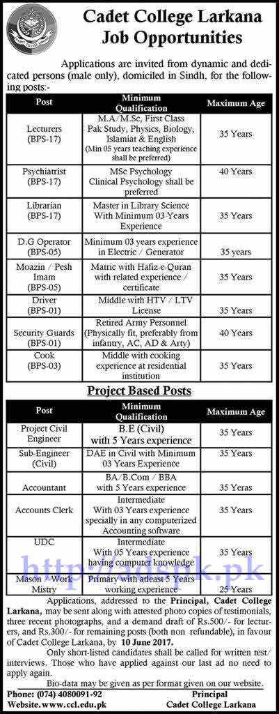 Jobs Cadet College Larkana Sindh Jobs 2017 for Lecturers Psychiatrist Librarian D.G Operator and Other Project Based Staff Jobs Application Deadline 10-06-2017 Apply Now