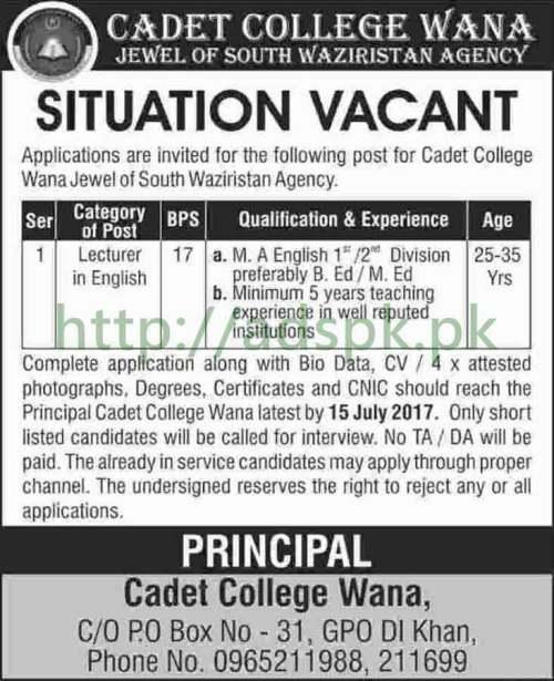 Jobs Cadet College Wana South Waziristan Agency P.O Box 31 GPO D.I.Khan Jobs 2017 for Lecturer English Jobs Application Deadline 15-07-2017 Apply Now