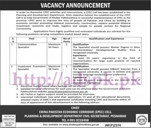 Jobs China Pakistan Economic Corridor (CPEC) Planning & Development Cell Peshawar Jobs 2017 for Communication Specialist Investment Promotion Specialist Jobs Application Deadline 02-06-2017 Apply Now