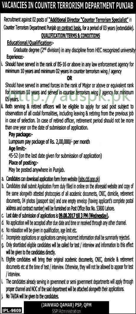 Jobs Counter Terrorism Department Punjab CTD Jobs 2017 Additional Director Counter Terrorism Specialist Jobs Application Form Deadline 09-08-2017 Apply Now