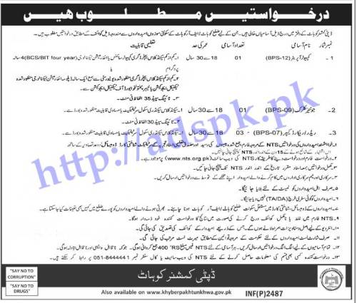 Jobs Deputy Commissioner Kohat Jobs 2017 for NTS Written Test MCQs Syllabus Paper for Computer Operator Junior Clerk Reader Record Keeper Jobs Application Form Deadline 12-06-2017 Apply Now by NTS Pakistan