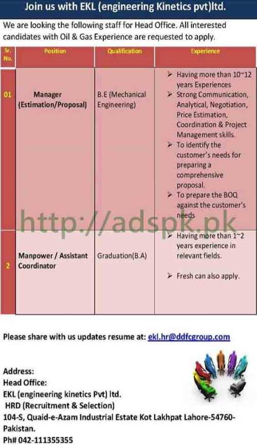 Jobs EKL Engineering Kinetics Pvt Ltd Lahore Jobs 2017 B.E Mechanical Engineering & Graduation B.A Jobs Apply Online Now