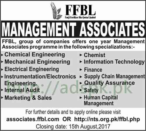 Jobs Fauji Fertilizer Bin Qasim FFBL Jobs 2017 Management Associates Various Disciplines Jobs Application Deadline 15-08-2017 Apply Online Now