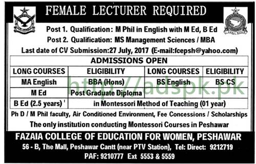 Jobs Fazaia College of Education for Women Peshawar Jobs 2017 for Lecturer Female Jobs Application Deadline 27-07-2017 Apply Now