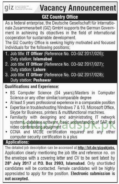 Jobs GIZ P.O Box 2993 Islamabad Jobs 2017 for I.T Officers (Duty Station Islamabad Lahore Peshawar) Jobs Application Deadline 28-07-2017 Apply Now