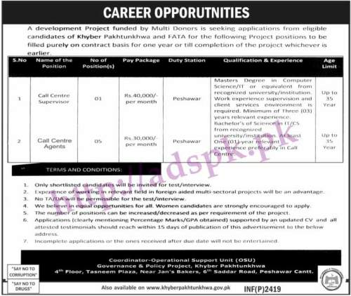 Jobs Governance & Policy Project Peshawar KPK Jobs 2017 for Call Centre Supervisor and Call Centre Agents Jobs Application Deadline 04-06-2017 Apply Now