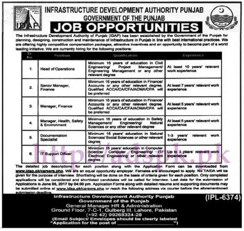 Jobs Infrastructure Development Authority Punjab IDAP Govt. Jobs 2017 for Head of Operations Managers Documentation Specialist I.T Support Officer Jobs Application Deadline 05-06-2017 Apply Now