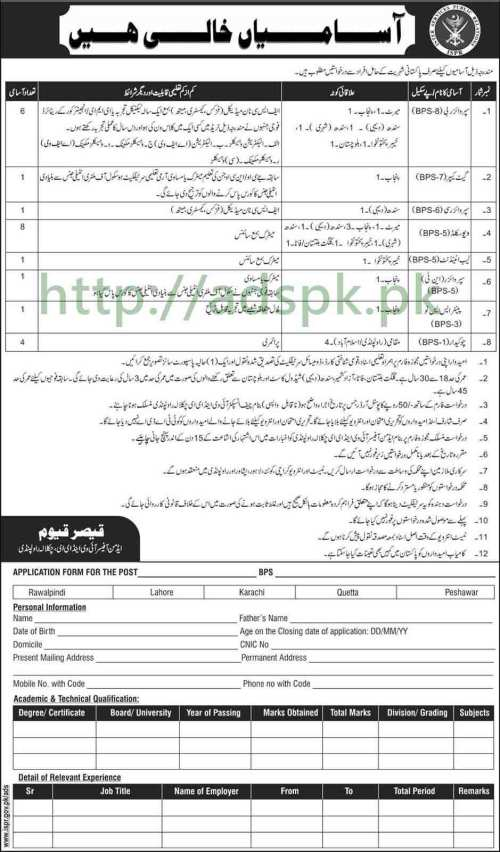 Jobs Inter Services Public Relations ISPR Jobs 2017 for BPS-01 to BPS-08 Supervisor Gate Keeper Lab Attendant Jobs Application Form Deadline 24-07-2017 Apply Now
