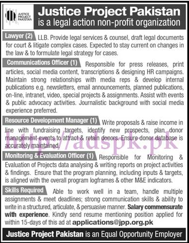 Jobs Justice Project Pakistan Jobs 2017 for Lawyer Communication Officer RD Manager M&E Officer Jobs Application Deadline 05-06-2017 Apply Online Now