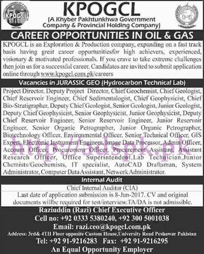 Jobs KPOGCL KPK Peshawar Jobs 2017 for Vacancies in Jurassic Geo (Hydrocarbon Technical Lab) Chief Internal Auditor Jobs Application Deadline 08-06-2017 Apply Now