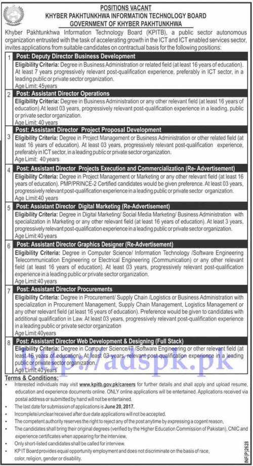 Jobs Khyber Pakhtunkhwa Information Technology Board KPITB Peshawar KPK Jobs 2017 for Deputy Director Business Development Assistant Directors (Various Disciplines) Jobs Application Deadline 20-06-2017 Apply Online Now