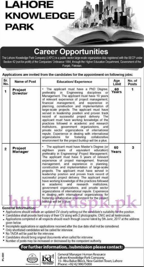 Jobs Lahore Knowledge Park Company Govt. of Punjab Jobs 2017 for Project Director and Project Manager Jobs Application Deadline 05-06-2017 Apply Now