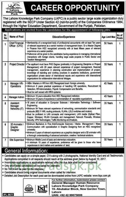 Jobs Lahore Knowledge Park Company LKPC Punjab Lahore Jobs 2017 Chief Financial Officer Project Director Manager HR Operations Manager Admin Assistant Manager Networks I.T 3D Animator Graphic Designer Site Supervisor Jobs Application Form Deadline 10-08-2017 Apply Now