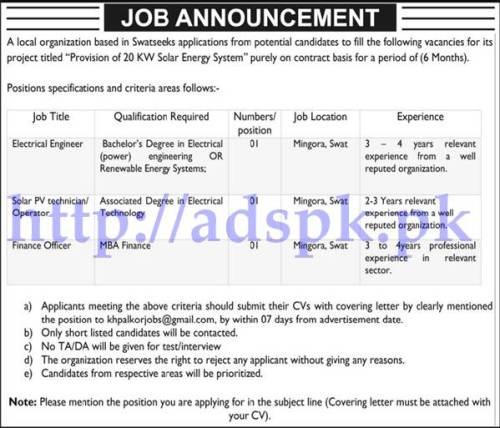Jobs Local Organization Swat Jobs 2017 for Electrical Engineer Solar PV Technician Finance Officer Jobs Application Deadline 07-06-2017 Apply Online Now