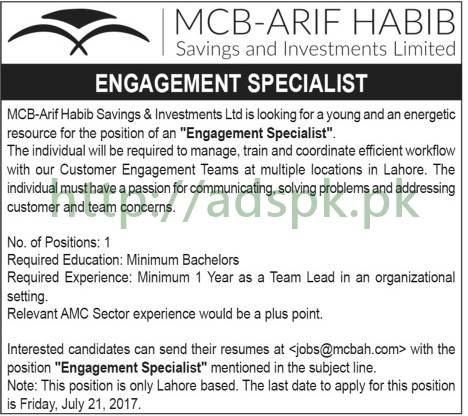 Jobs MCB-Arif Habib Savings & Investments Ltd Jobs 2017 for Engagement Specialist Jobs Application Deadline 21-07-2017 Apply Online Now