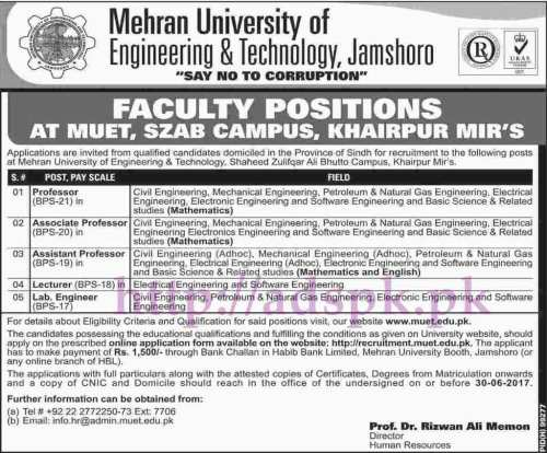 Jobs Mehran University of Engineering and Technology Jamshoro Jobs 2017 for Professors Lecturers Lab Engineers Jobs Application Form Deadline 30-06-2017 Apply Now