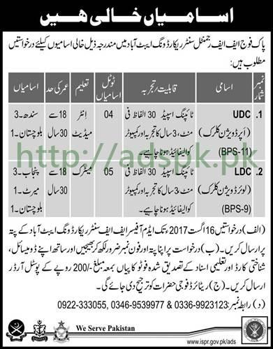 Jobs Pakistan Army FF Regimental Center Record Wing Abbottabad Jobs 2017 UDC LDC Jobs Application Deadline 16-08-2017 Apply Now
