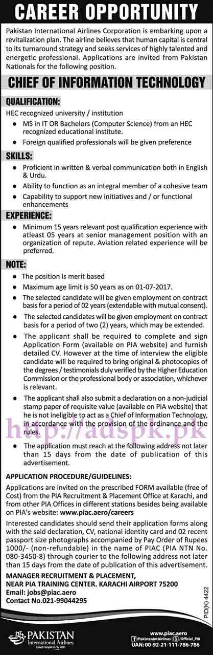 Jobs Pakistan International Airlines Karachi PIA Jobs 2017 for Chief Executive and Chief of Information Technology Jobs Application Form Deadline 04-06-2017 Apply Now