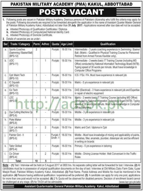 Jobs Pakistan Military Academy PMA Kakul Abbottabad Jobs 2017 for BPS-04 to BPS-12 Sports Coaches UDC and Other Staff Jobs Application Deadline 31-07-2017 Apply Now