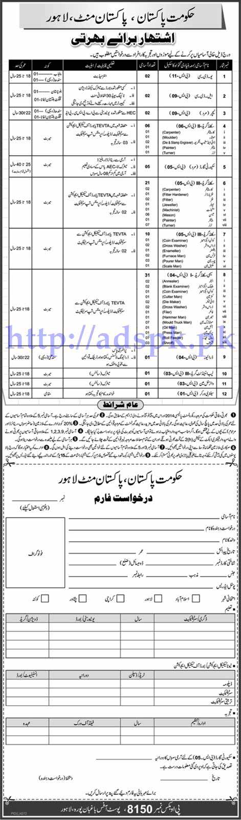 Jobs Pakistan Mint Lahore Government of Pakistan Jobs 2017 for UDC LDC Teachers and Other Technical Staff Jobs Application Form Deadline 12-06-2017 Apply Now