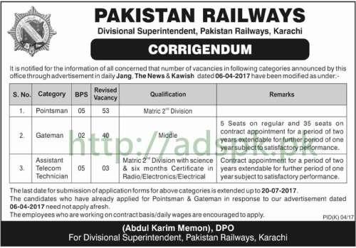 Jobs Pakistan Railways Divisional Superintendent Pakistan Railways Karachi Jobs 2017 for Pointsman Gateman Assistant Telecom Technician Jobs Application Deadline 20-07-2017 Apply Now