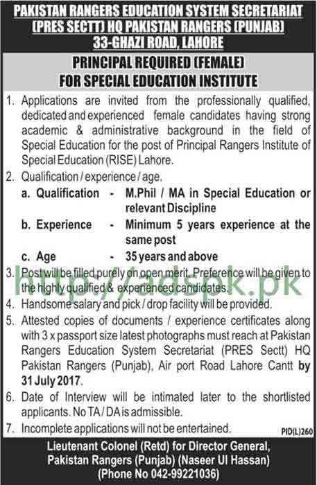 Jobs Pakistan Rangers Education System Secretariat HQ Pakistan Rangers Punjab Lahore Jobs 2017 Female Principal Rangers Institute of Special Education RISE Lahore Jobs Application Deadline 31-07-2017 Apply Now