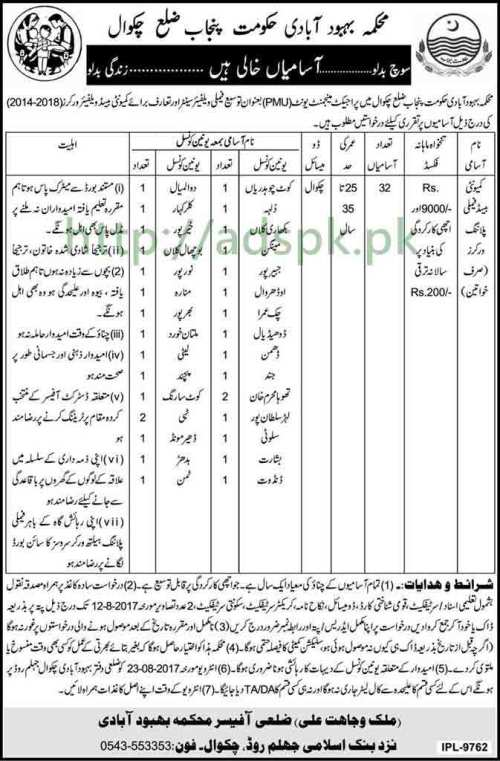 Jobs Population Welfare Department District Chakwal PMU Project Jobs 2017 Community based Family Planning Workers (Female) Jobs Application Deadline 12-08-2017 Apply Now