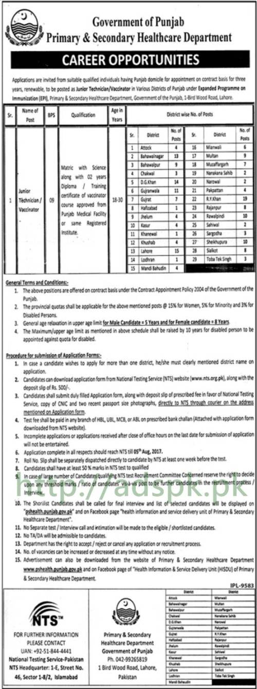 Jobs Primary & Secondary Healthcare Department EPI All Punjab Jobs 2017 NTS Written MCQs Syllabus Paper for Junior Technician Vaccinator Jobs Application form Deadline 05-08-2017 Apply Now