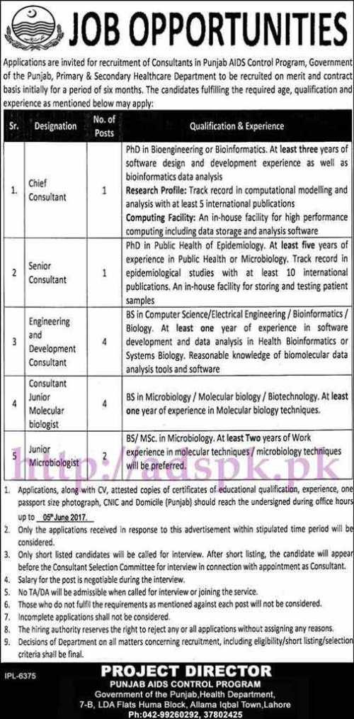 Jobs Primary & Secondary Healthcare Department Punjab Aids Control Program Jobs 2017 for Consultants (Various Disciplines) Junior Microbiologist Jobs Application Deadline 05-06-2017 Apply Now