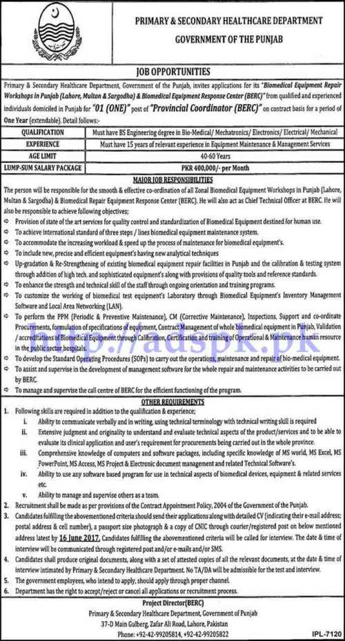 Jobs Primary and Secondary Healthcare Department Govt. of Punjab Jobs 2017 for Provincial Coordinator (BERC) Jobs Application Deadline 16-06-2017 Apply Now