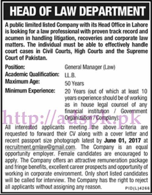 Jobs Public Limited Company Law Department Lahore Jobs 2017 for General Manager Law Jobs Application Deadline 01-06-2017 Apply Now