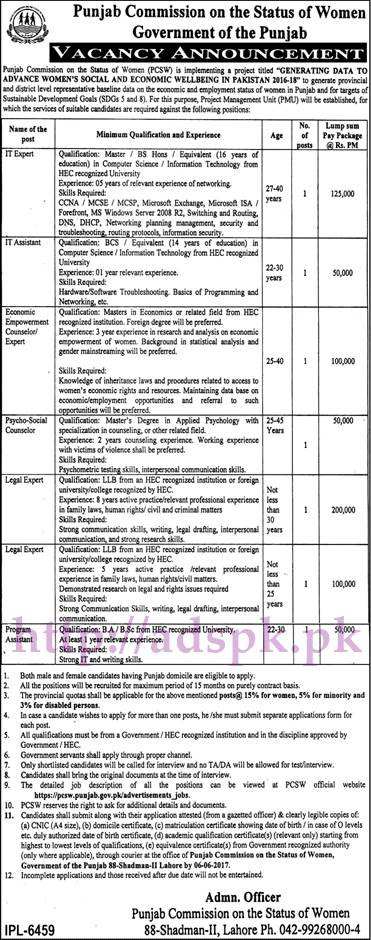 Jobs Punjab Commission on the Status of Women Punjab Govt. Jobs 2017 for I.T Expert I.T Assistant Legal Experts Jobs Application Deadline 06-06-2017 Apply Now