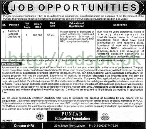 Jobs Punjab Education Foundation PEF Jobs 2017 Assistant Director Cholistan Jobs Application Deadline 16-08-2017 Apply Now